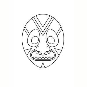 Maschera di Africana per colorare