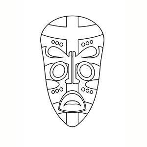 Maschera di Africano per colorare
