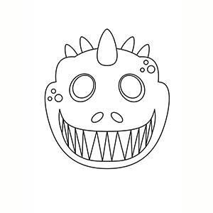 Maschera di Dinosauro per colorare