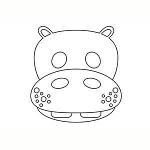 Maschera di Ippopotamo per colorare