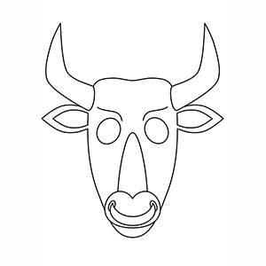 Maschera di Minotauro per colorare