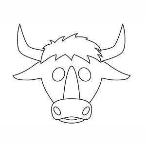 Maschera di Toro per colorare