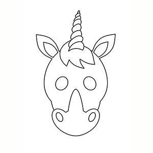 Maschera di Unicorno per colorare